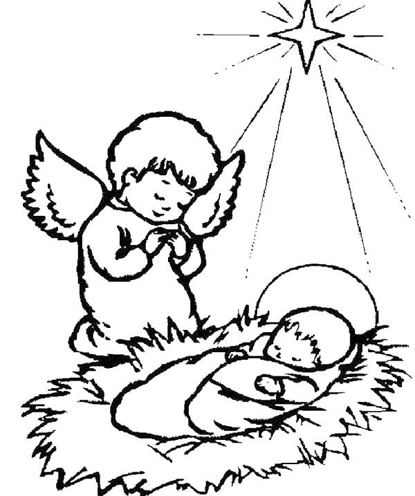 A Little Angel Praying For Baby Jesus Coloring Page
