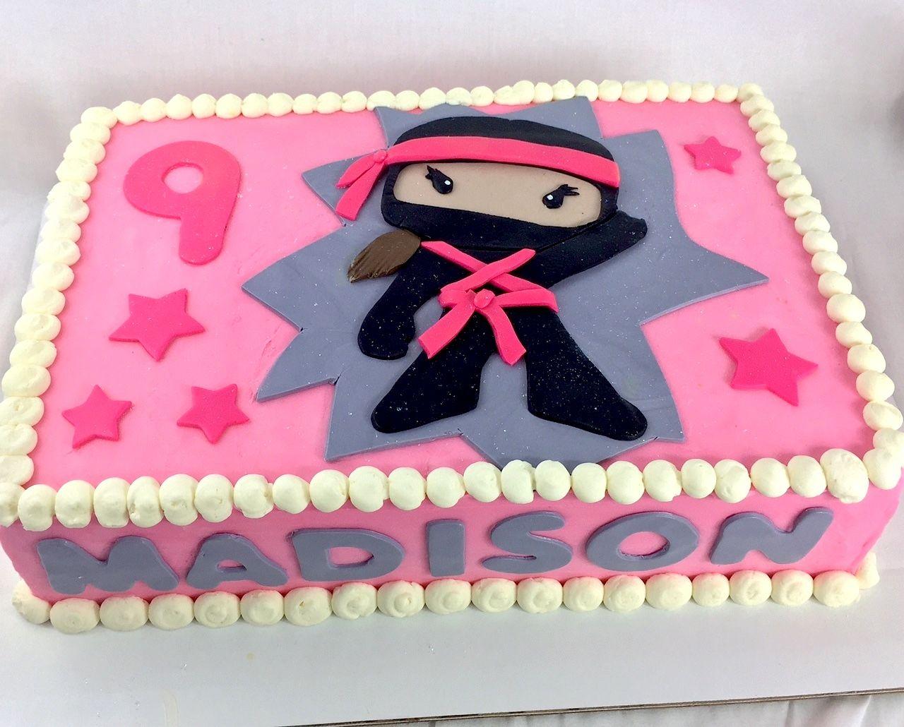 Surprising Ninja Girl Birthdaycake Birthday Cake Pink With Images Birthday Cards Printable Inklcafe Filternl