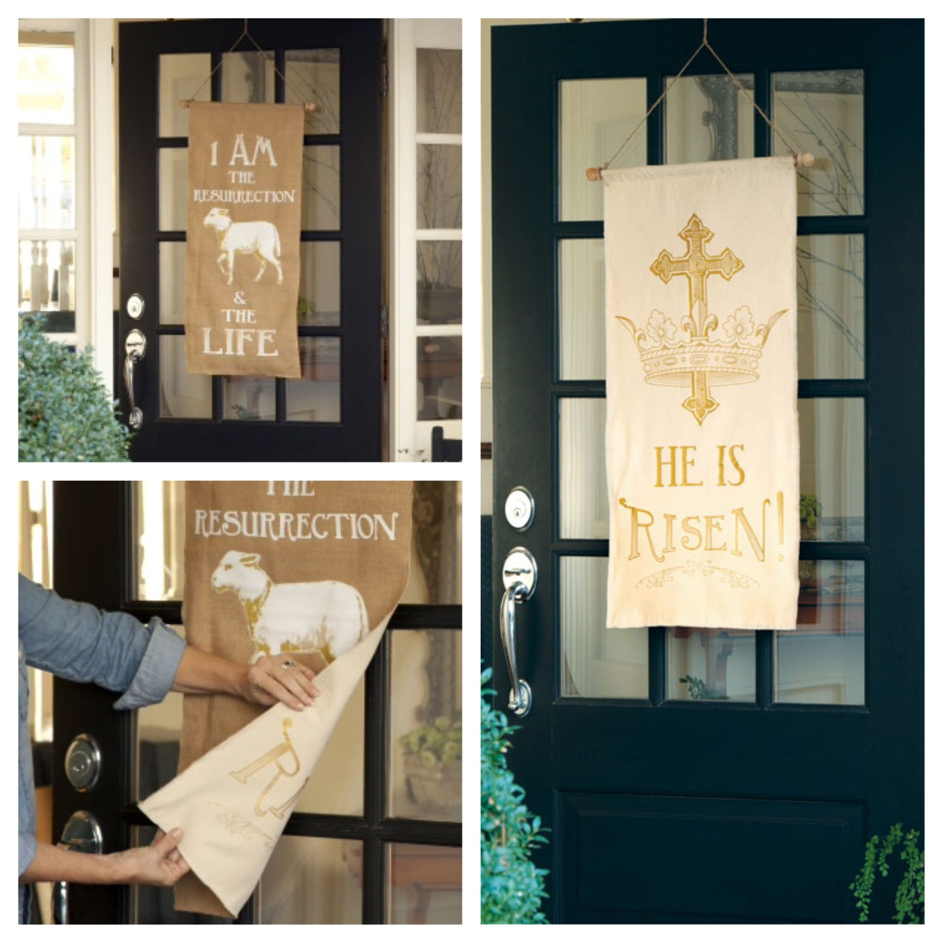 HE IS RISEN EASTER BANNER BY EVER THINE HOME NEW IN BOX DOUBLE SIDED BANNER