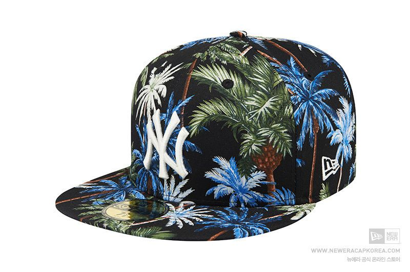 dfaa941b033 New Era 59Fifty Palm Tree New York Yankees Black Fitted Baseball Cap 100%  Cotton  NewEra  BaseballCap  NewYorkYankees