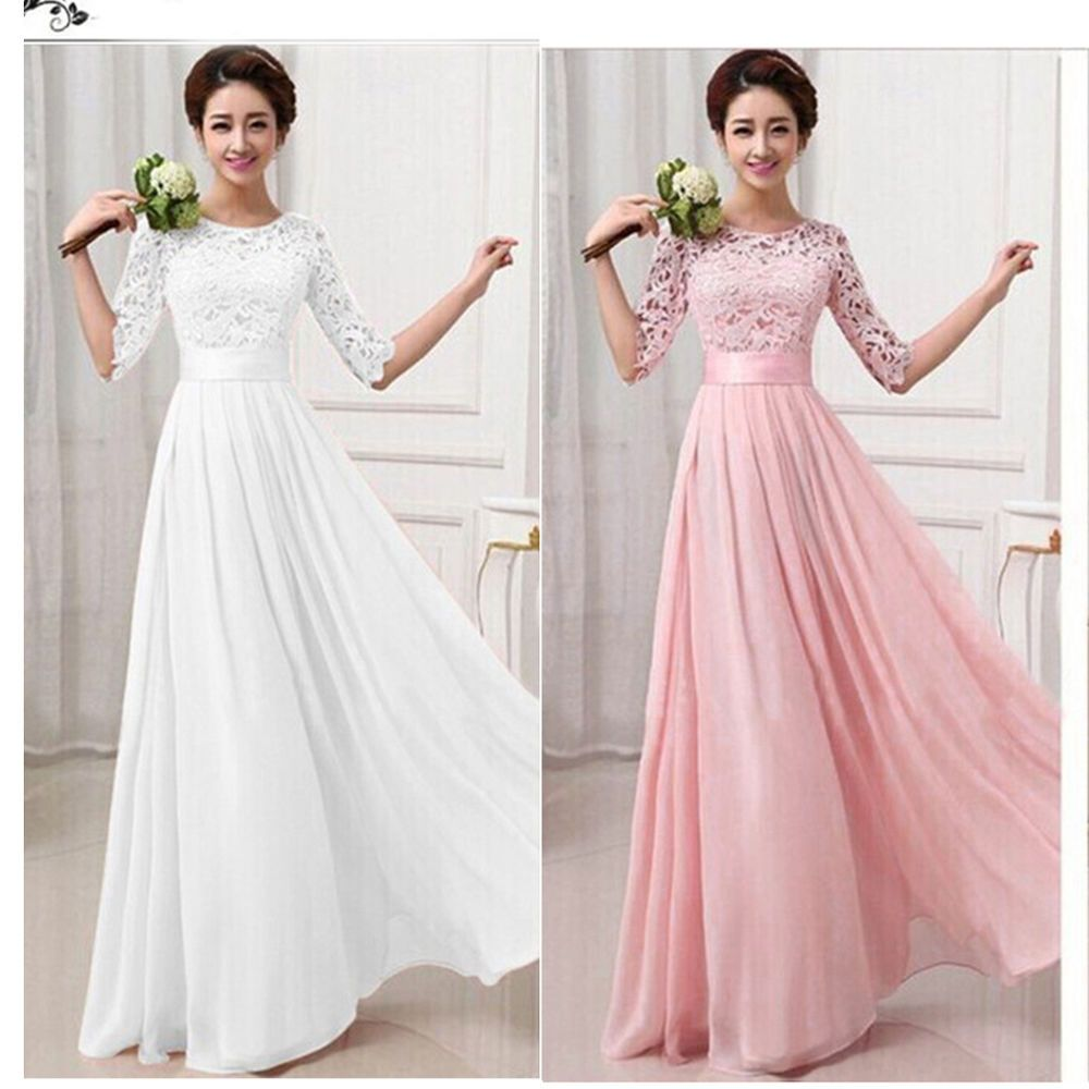 Long chiffon lace evening formal party ball gown prom women