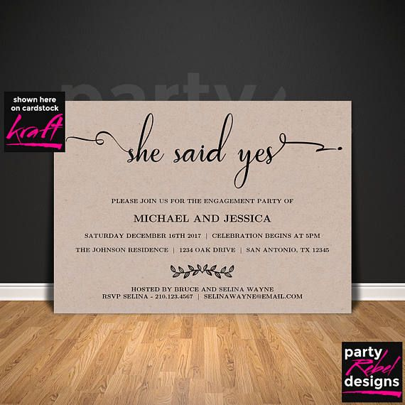 Printable Engagement Invitation Template She Said Yes Save
