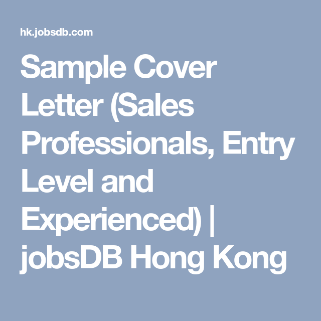 Sample Cover Letter Sales Professionals Entry Level And