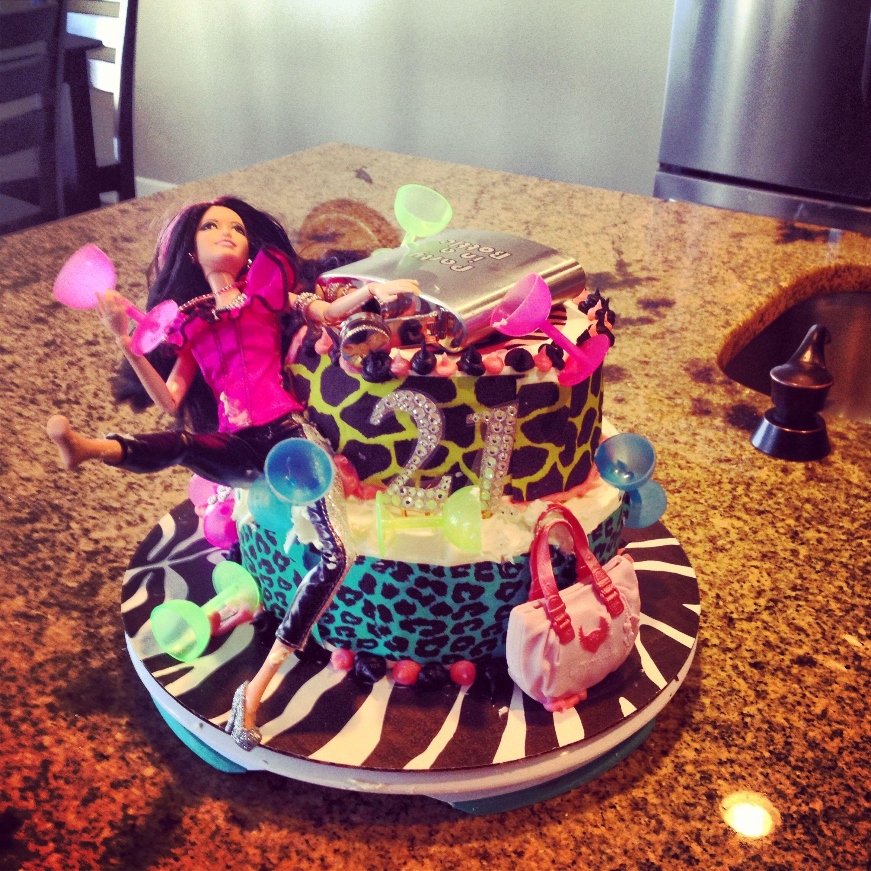 Drunken barbie cake Great for 21st birthday I made this cake for