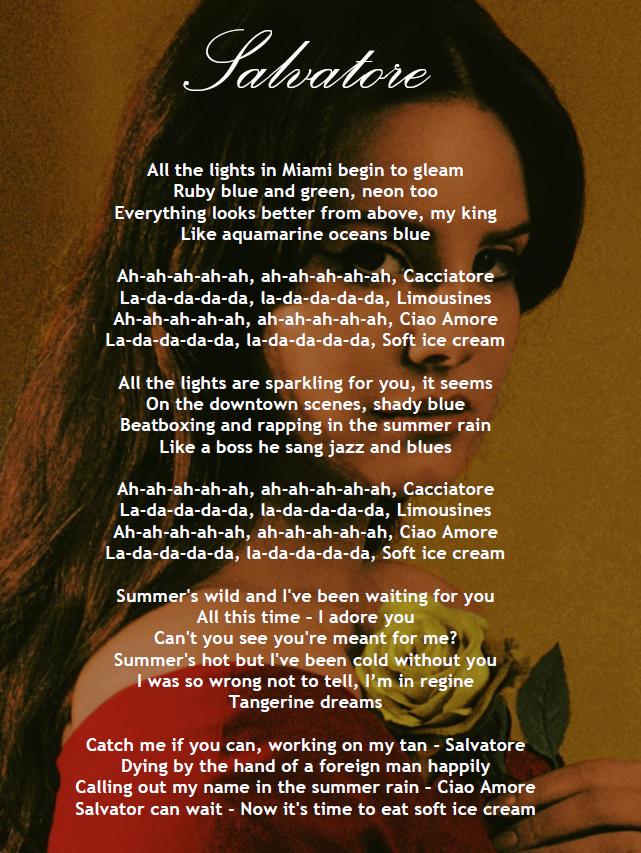 Lana Del Rey - Salvatore (lyrics)