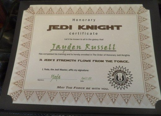 Jedi Knight Training Certificate for Star Wars party- awesome.