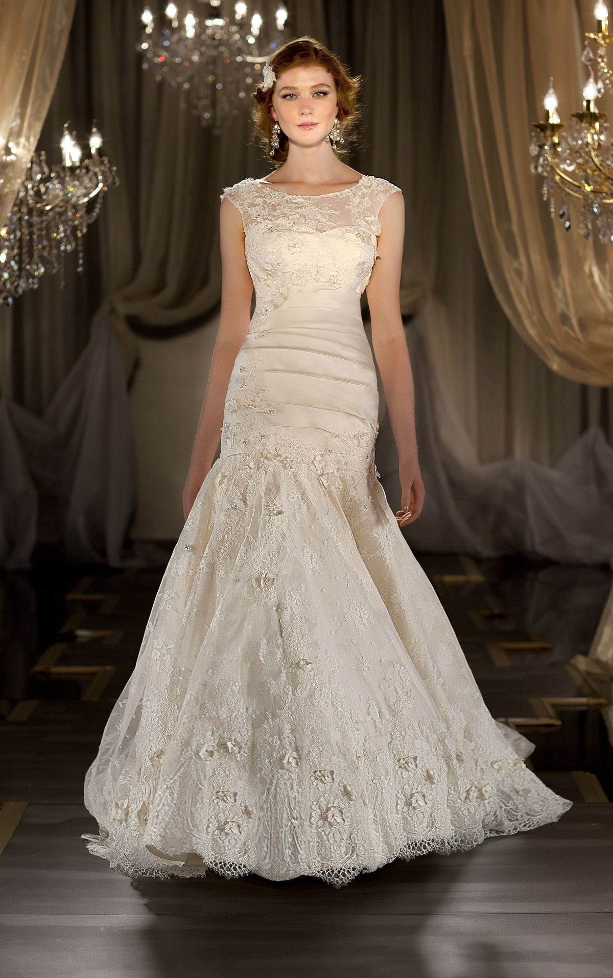 Removable Illusion Bateau Neckline Lace Overlay With Sleeves Martina Liana Style 414