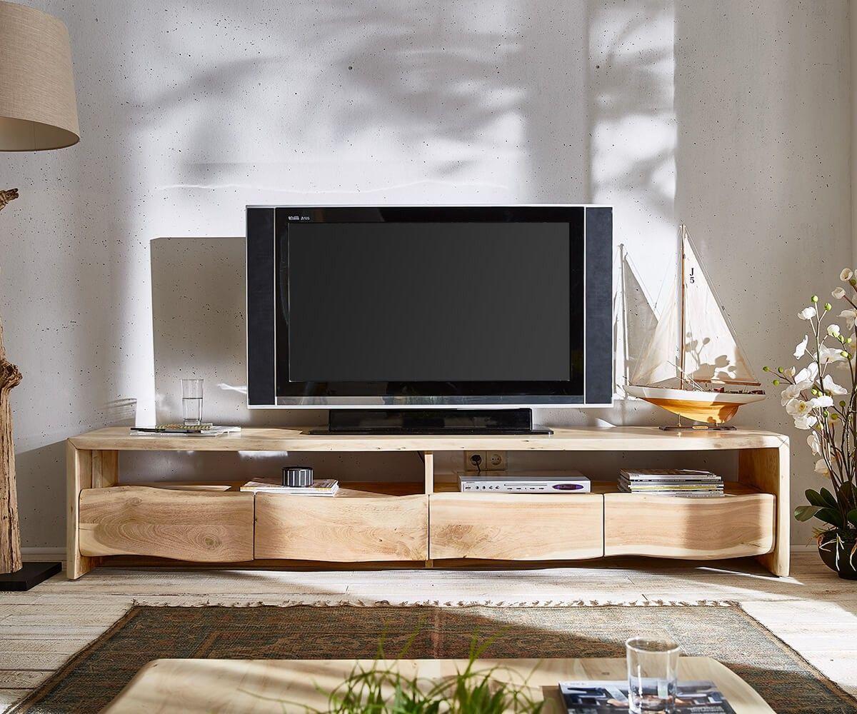 Interior design-ideen wohnzimmer mit tv lowboard liveedge x cm akazie gebleicht  schübe möbel tische