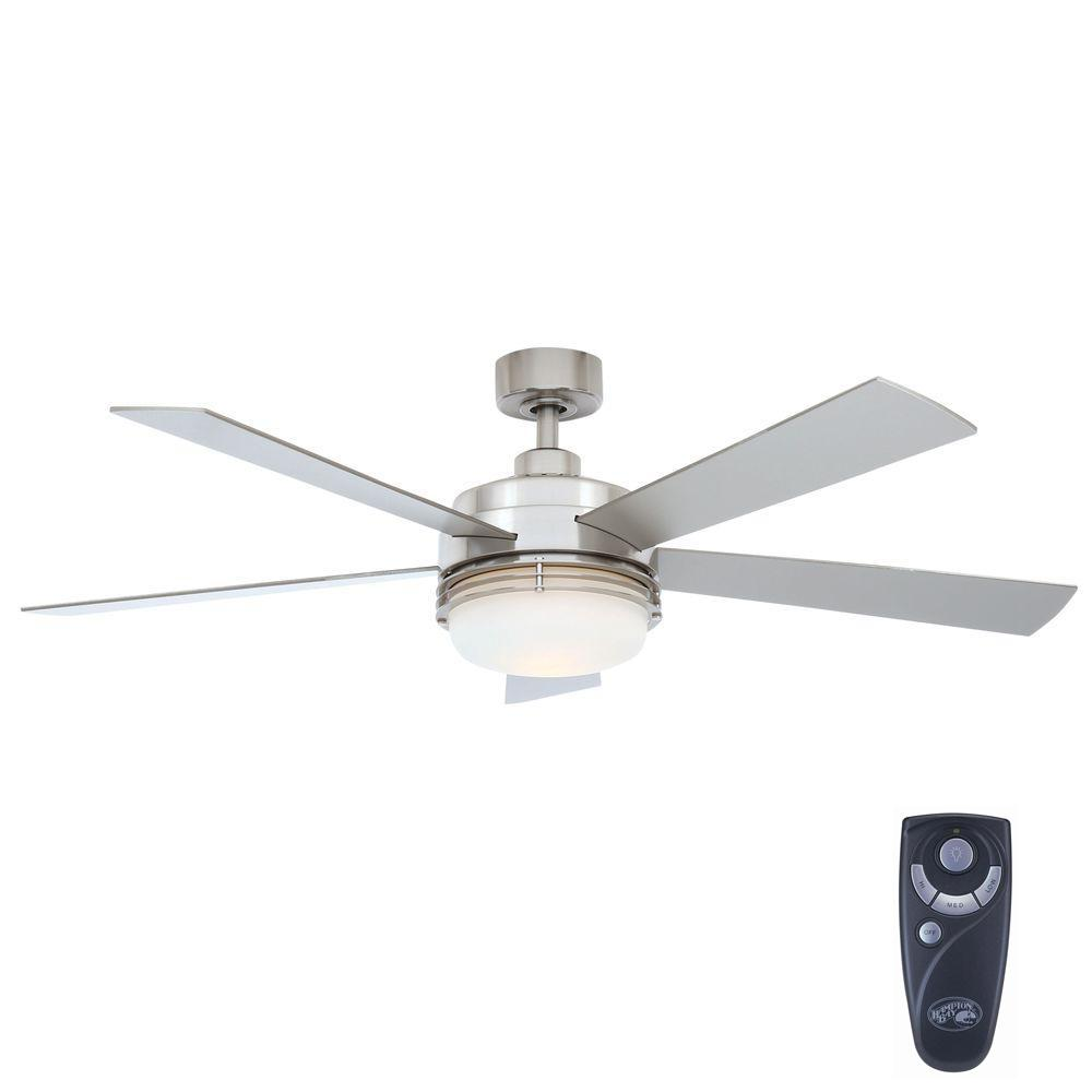 Hampton Bay Sussex Ii 52 In Indoor Brushed Nickel Ceiling Fan With Light Kit And Remote Control Al694 Bn Brushed Nickel Ceiling Fan Modern Ceiling Fan Ceiling Fan With Light