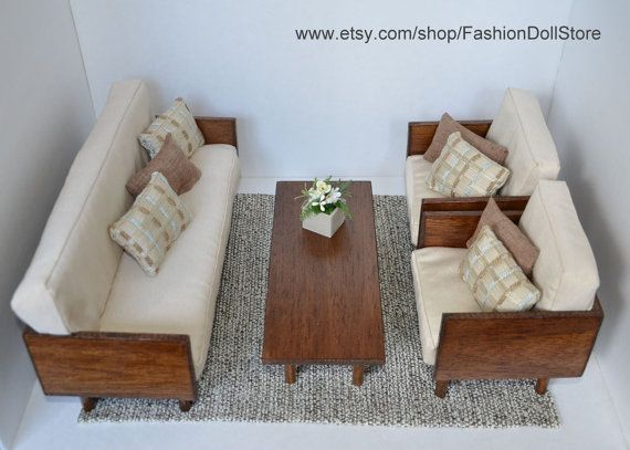 Doll living room furniture_Sofa, 2 chairs, table, rug and flower in ...
