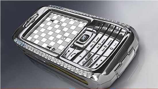 Diamond Crypto Smartphone: They say this is one for the wealthy and the paranoid. The phone is made of solid platinum!The Ancort logo and navigation are 18 carat rose gold with 28 cut diamonds surrounding the navigation key, 25.5 princess cut diamonds have decorated the sides of the phone and on top of that there are 8 more beautiful diamonds affixed onto the device.