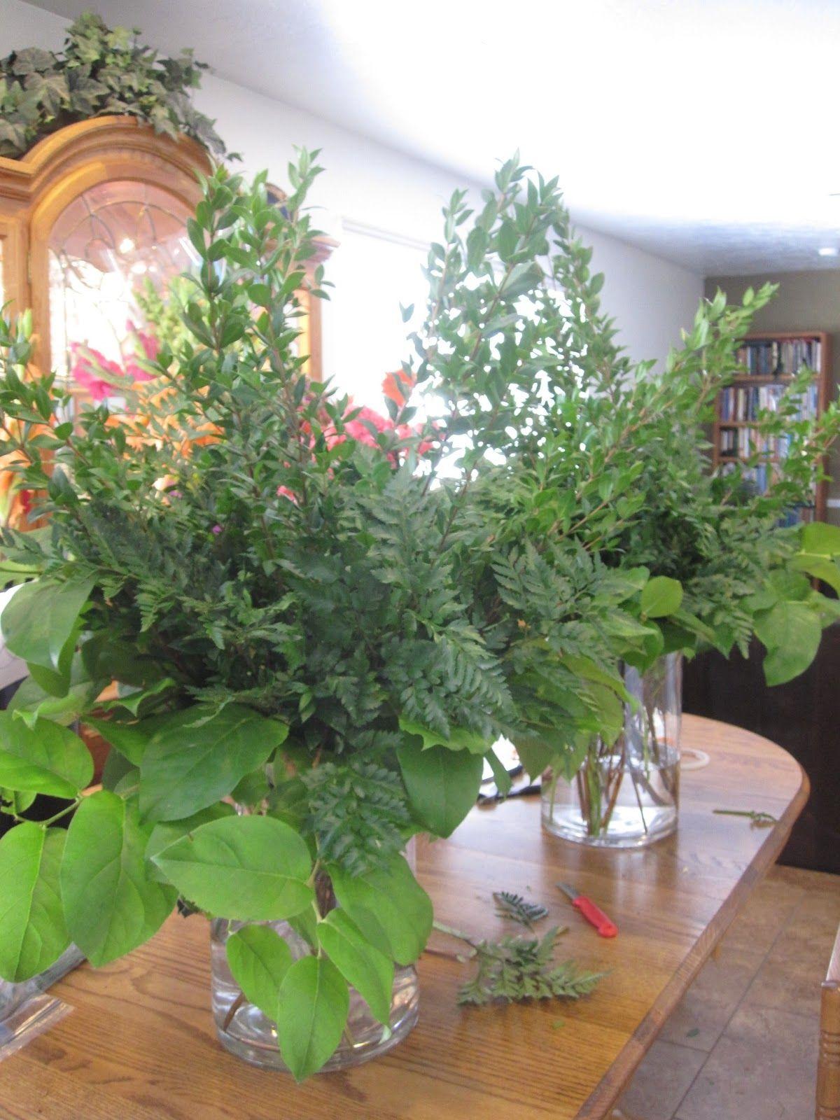Greening large flower vases leather leaf fern myrtle wedding greening large flower vases leather leaf fern myrtle reviewsmspy