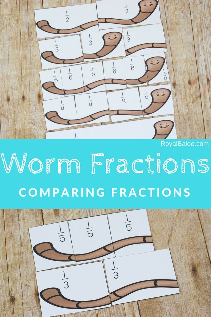 Learn about fractions and comparing fractions with the hands on worm ...