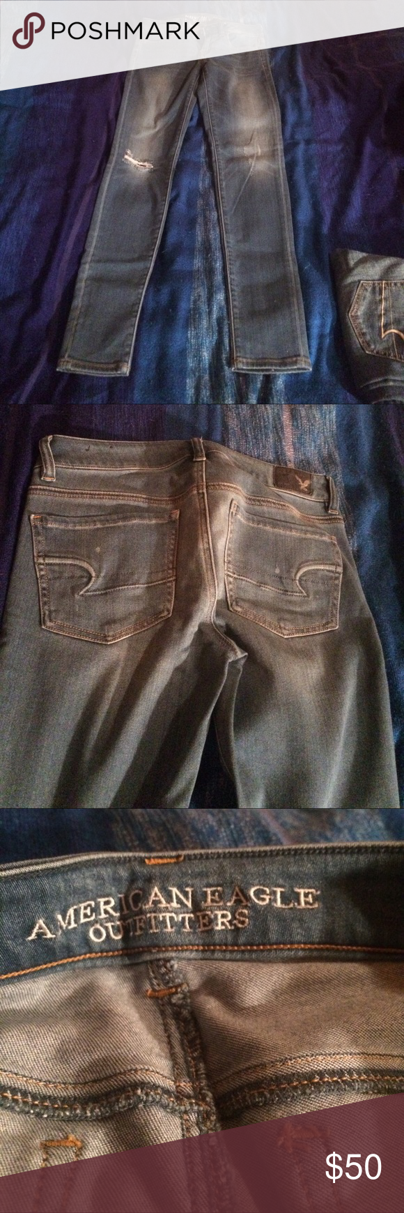 American Eagle jeggings size 4 American Eagle Outfitters size 4 jeggings. Light blue color with lighter distressing on the front and back. Also has distressing on the front knee areas. Like new condition only worn a few times. Only selling because they no longer fit. These jeans are great. American Eagle Outfitters Jeans Skinny