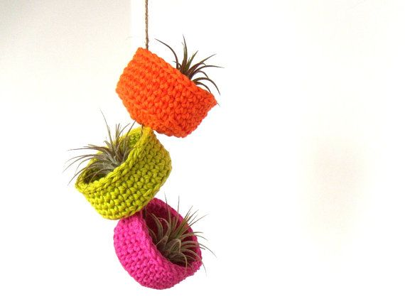 Spring Neons - Hanging Air Plant Trio in Colorful Cotton Bowl Planters.