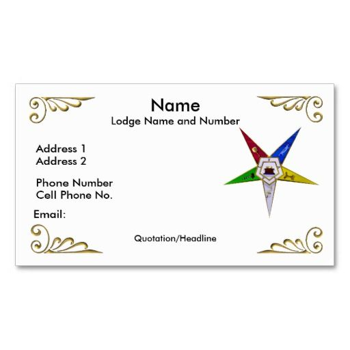 Order of the eastern star profilebusiness card eastern star order of the eastern star profilebusiness card reheart Images