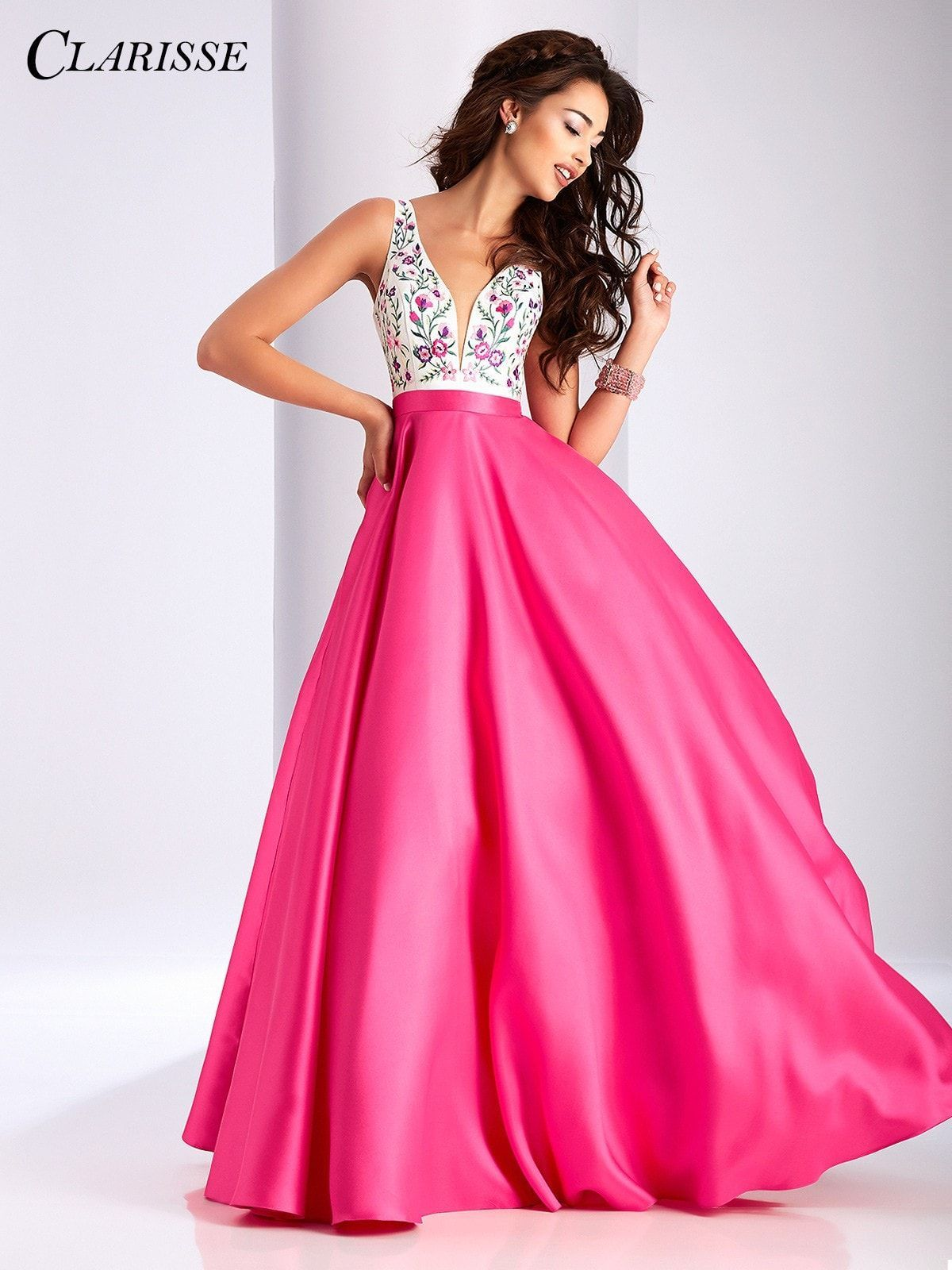 Clarisse Prom 3197 Cerise/Multi V-Neck Low Back Prom Dress ...