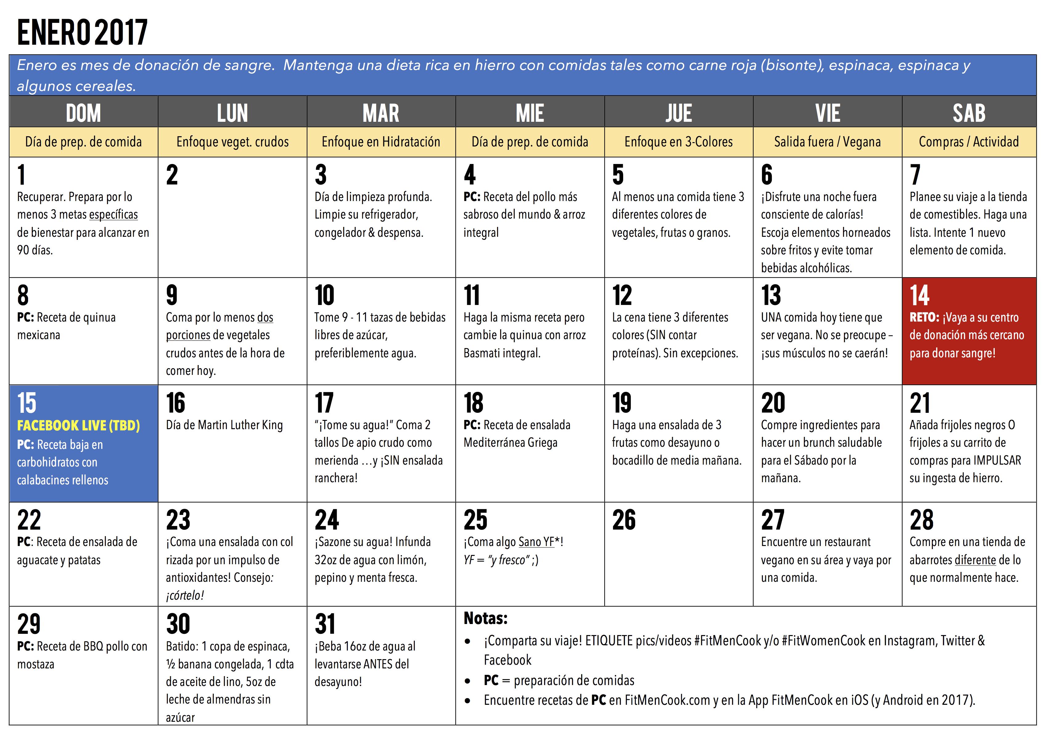 Calendario Fit.Healthy Habits Challenge Calendar Fit Men Cook Foodies