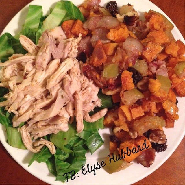 This is shredded baked chicken on top of sautéed cabbage.  On the side is sweet potatoes, green apple, uncured bacon-tossed in cinnamon. ✨ Then I baked it all at 375 until everything was tender and then stirred in walnuts and raisins and let that bake for another 10 minutes.  I love sweet and savory!   https://www.facebook.com/TeamJERF