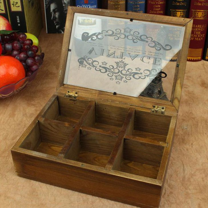 6 grid Zakka Retro creative desk Vintage Jewelry Organizer Storage