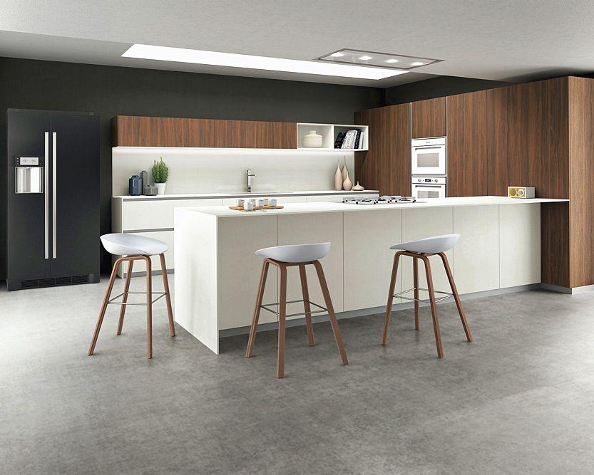 Wood Grain Mixed White Color Island Kitchen Cabinet Design U Shape
