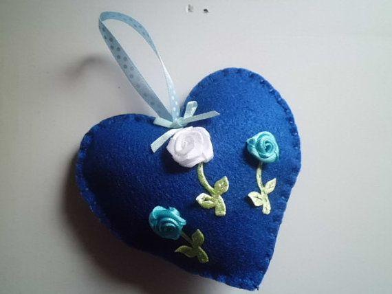 Handmade felt heart in blue with flower details