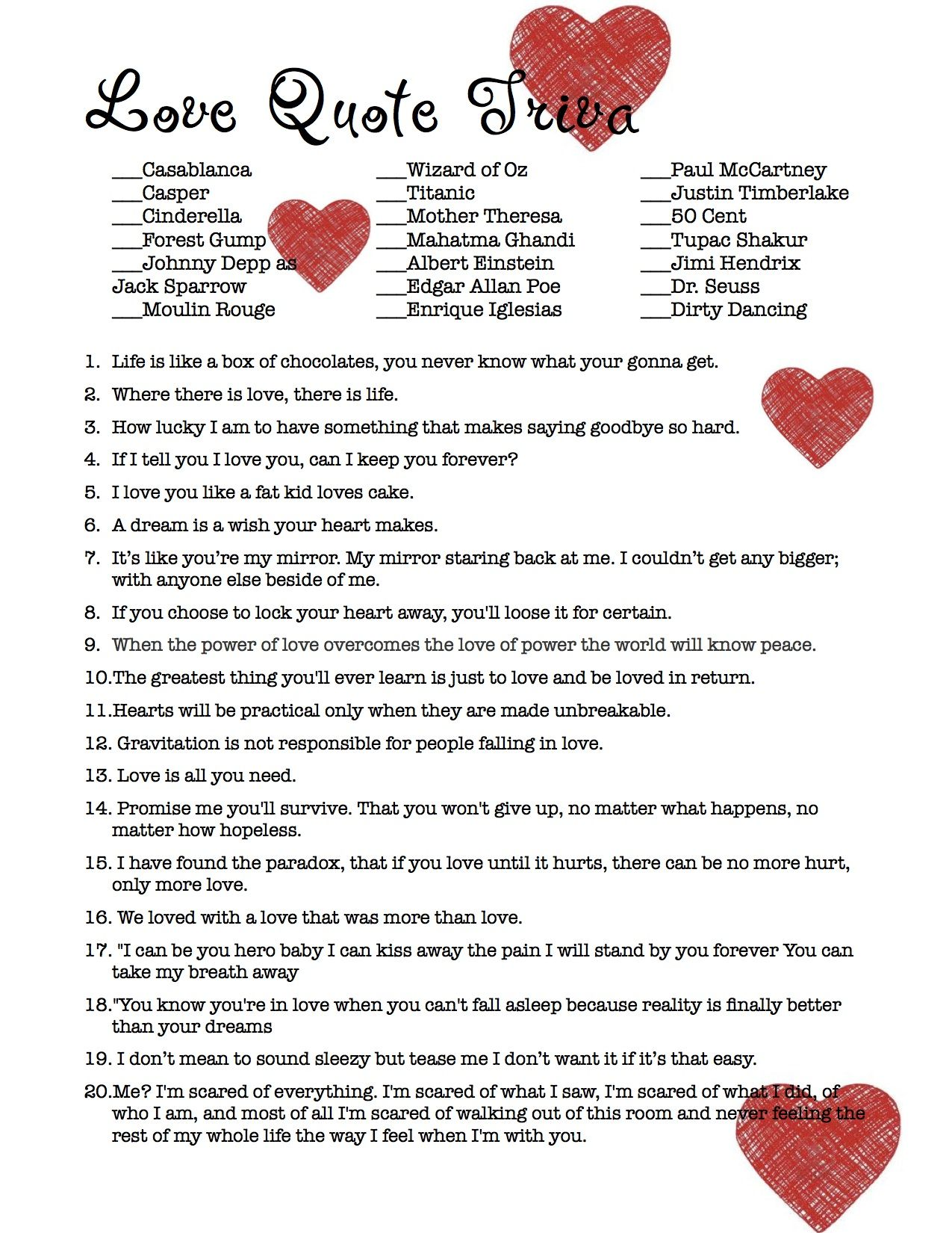 Love Quote Trivia - Bridal Shower Game (Not your typical quotes ...
