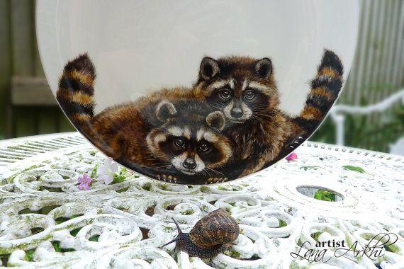 Wild life animals raccoons hand painted porcelain by LanaArkhi