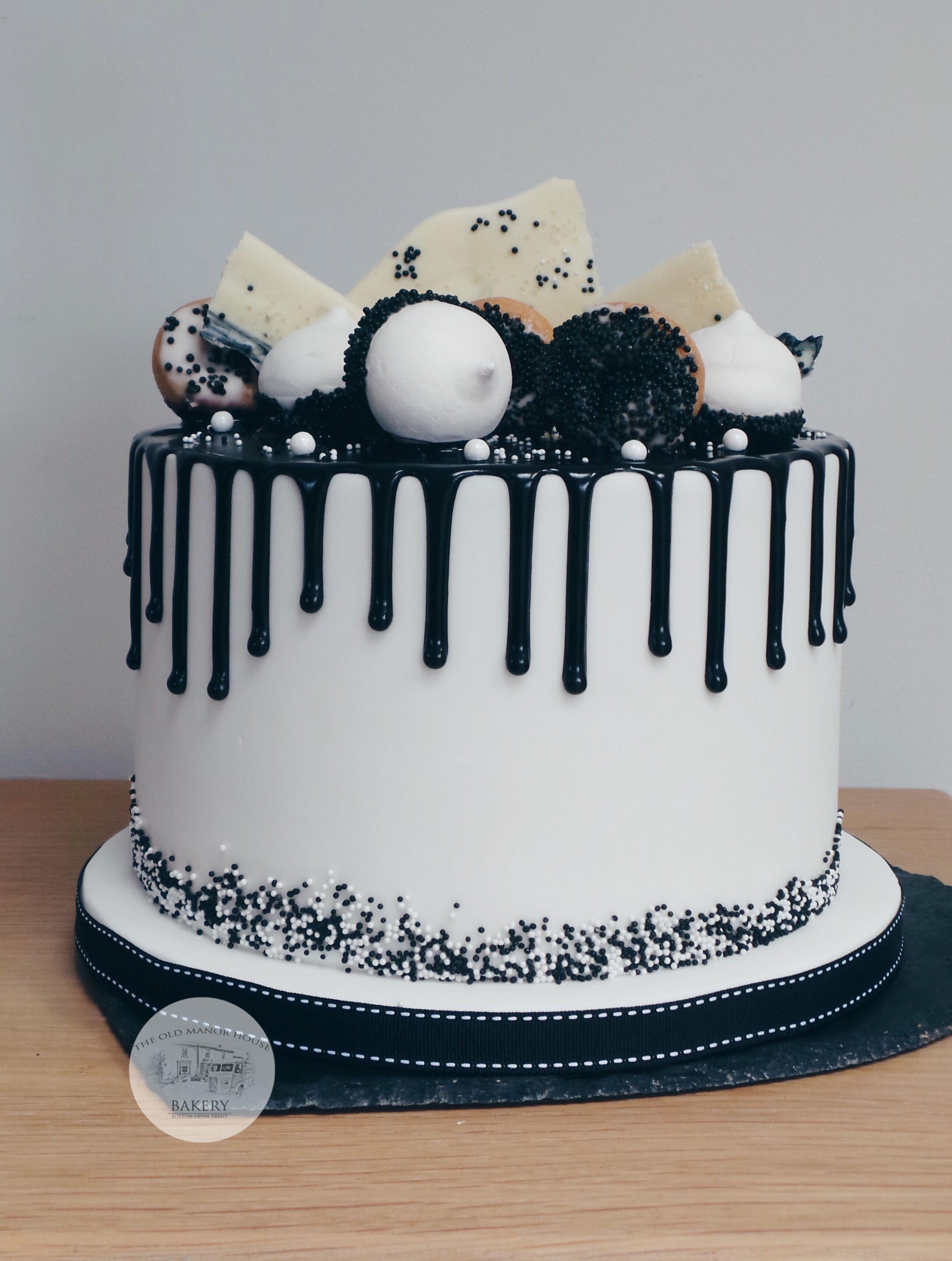 Black And White Drip Cake Loaded Drip Cakes Birthday Cake For Him Funny Birthday Cakes Surprise Birthday Cake