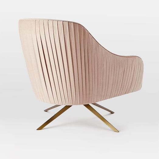 Blush Pink Swivel Club Chair With Mid Century Style.