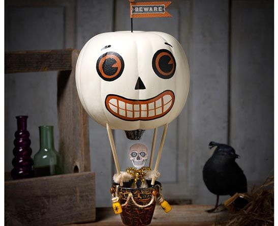 Hot Air Ballon with a Skeleton in the basket Halloween Inspired Pumpkin. 75+ No Carve DIY Halloween Pumpkin Decorating Ideas: The Ultimate Roundup!