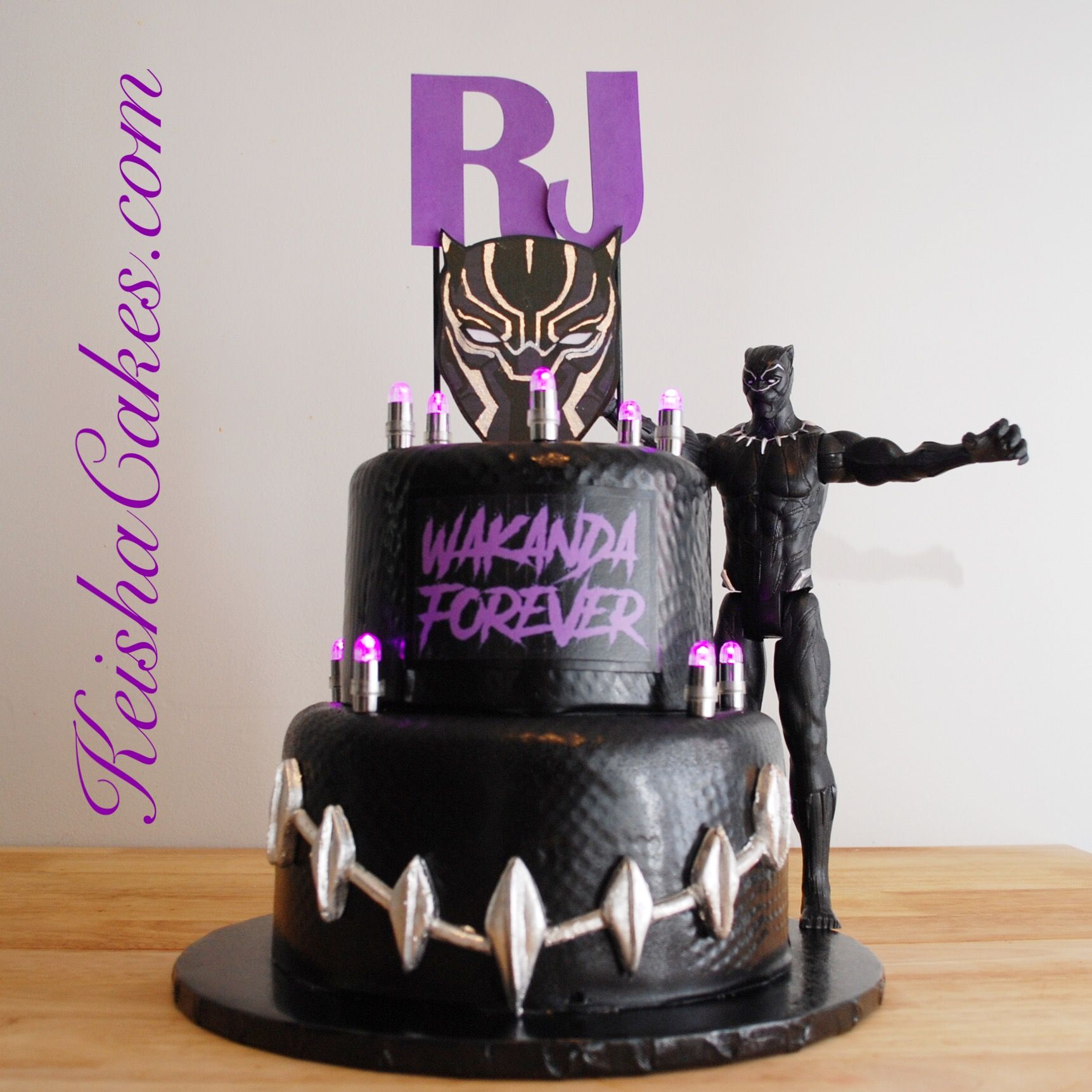 Black Panther Birthday Cake Covered In Textured Black Fondant