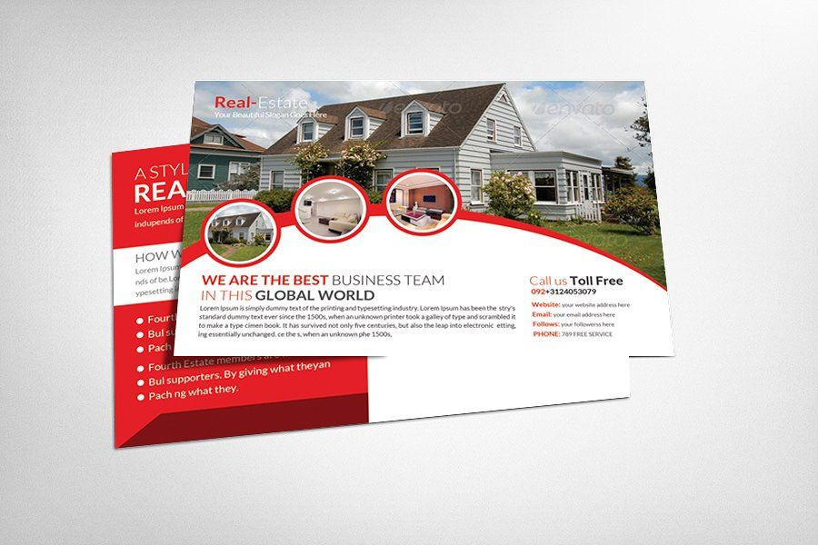 Real Estate Postcard Template By Business Templates On - Card template free: postcard mailing template