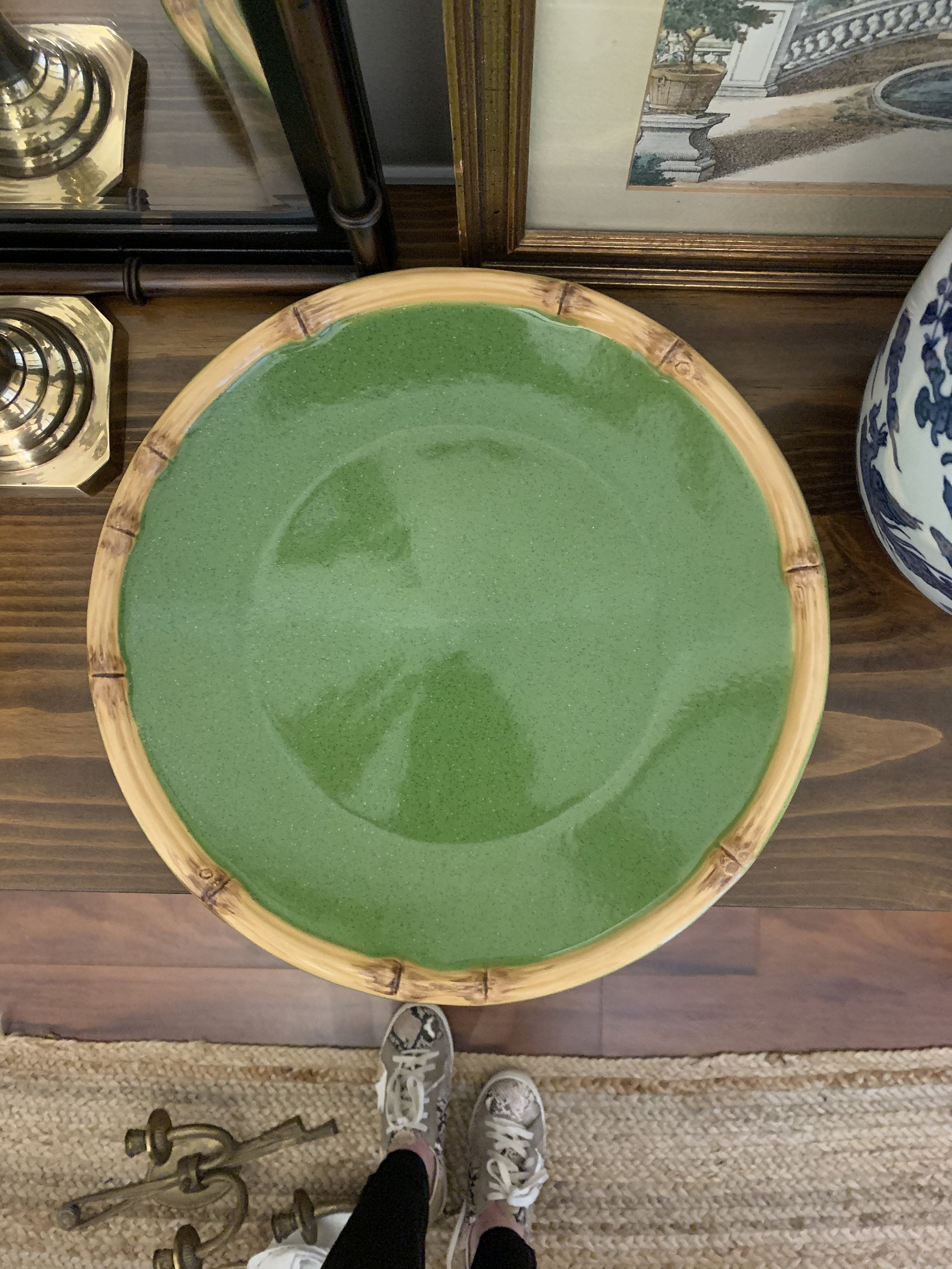 Green Stoneware Plate With Bamboo Rim Large Ceramic Bamboo Plate Display Plate Charger Plate By Mulherinlane On Et In 2020 Bamboo Plates Plates On Wall Plate Display