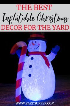 Your front yard provides a lot of space for decor so why not fill it up with some fun inflatable Christmas yard decorations?Giant blown up decorations are perfect outdoor Christmas decorations since they stand out and can be viewed from near and far.  #christmasseason #christmasdecor #christmasyard #yardsurfer #decoration #christmas #holidayinspo #holidays #christmasinspo #christmasfeels #christmashome #homedecor #homedesign