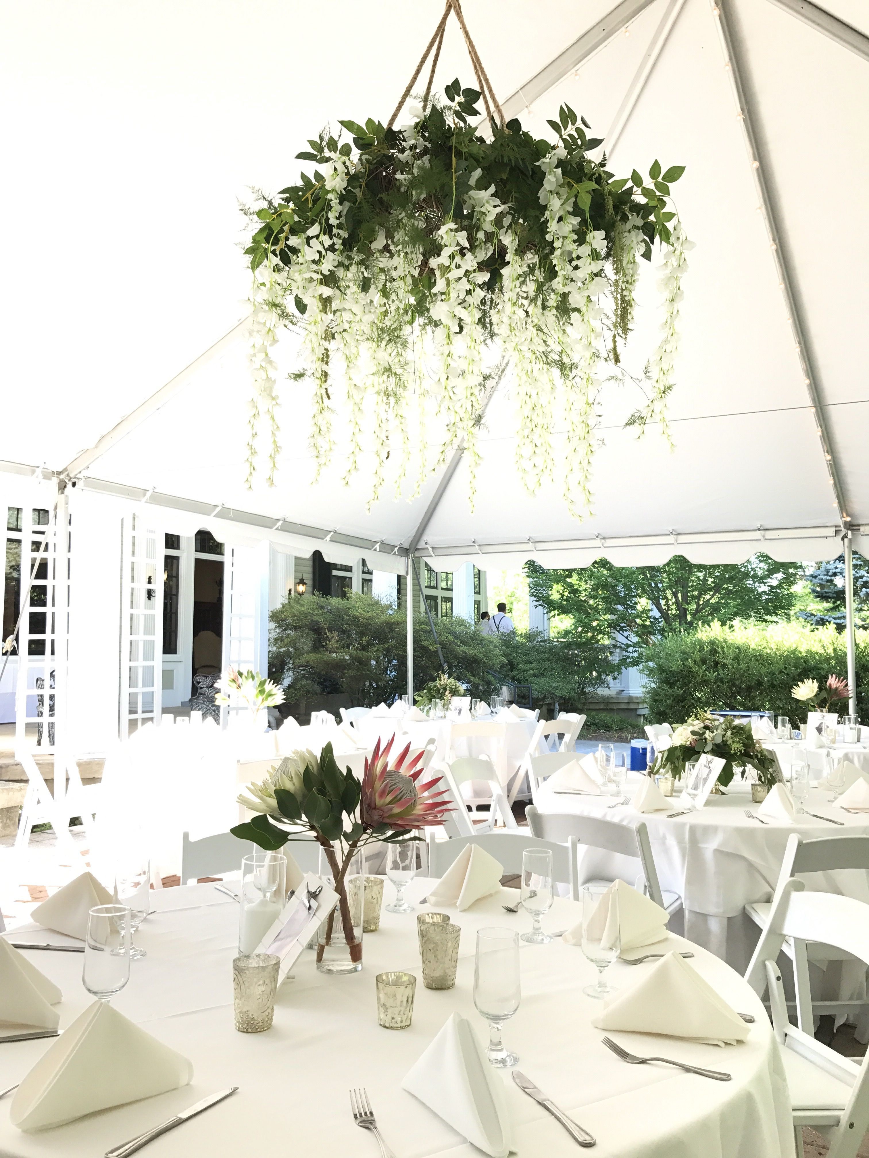 Floral Chandelier With Greenery And White Wisteria Wedding Chandelier Chandelier Wedding Decor Floral Chandelier Wedding