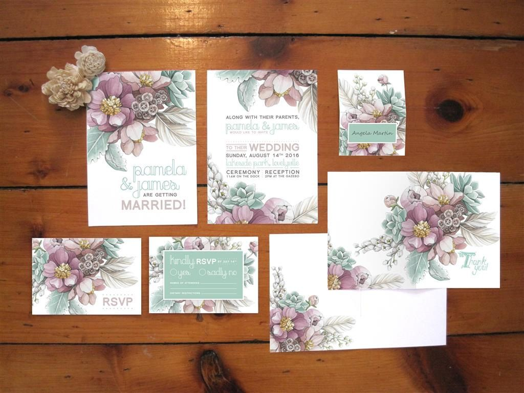 Mauve Peony & Mint Succulent Botanical Wedding Invitations - SAMPLE ...