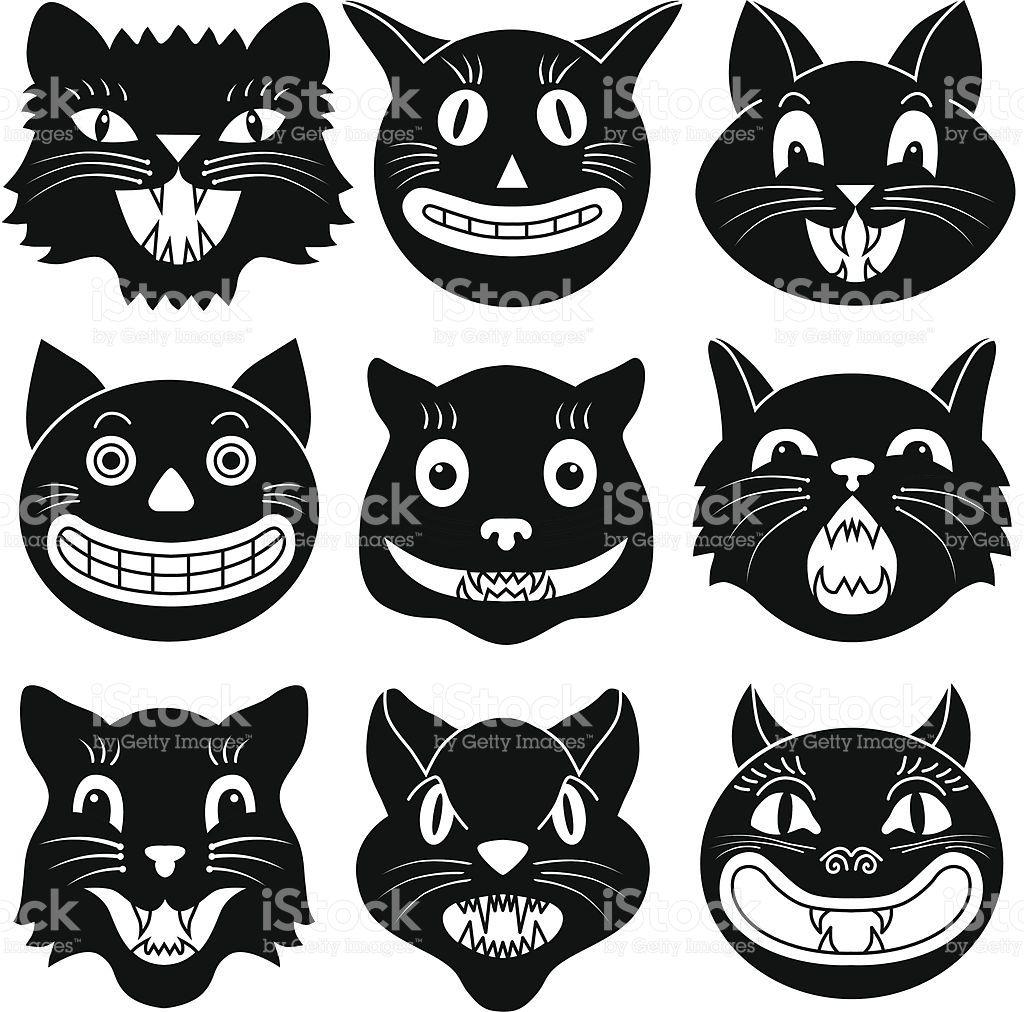 Vector illustrations of Halloween cat heads. Retro
