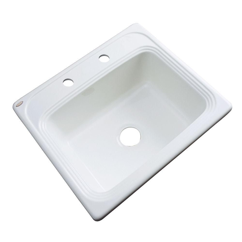 Wellington Drop-In Acrylic 25 in. 2-Hole Single Bowl Kitchen Sink in White