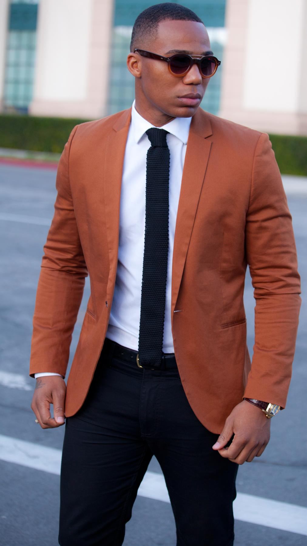 Men's Tobacco Blazer, White Dress Shirt, Navy Chinos, Navy Tie ...