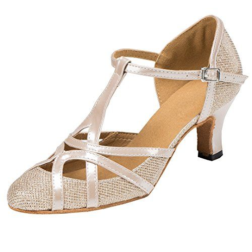 PU Leather Glitter Peep-Toe T-Starp Buckle Ladies Indoor Sandals Latin Dance Shoes Party Tango