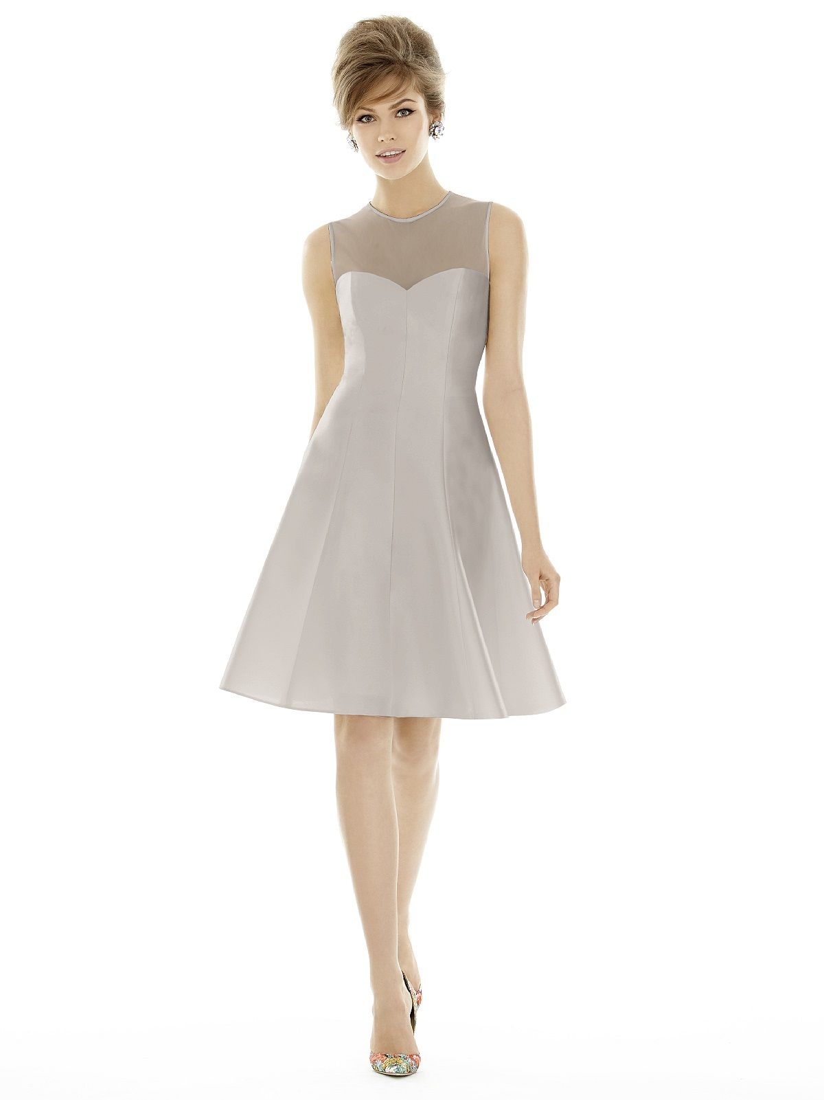 Modest short bridesmaid dress by alfred sung at the bridal cottage