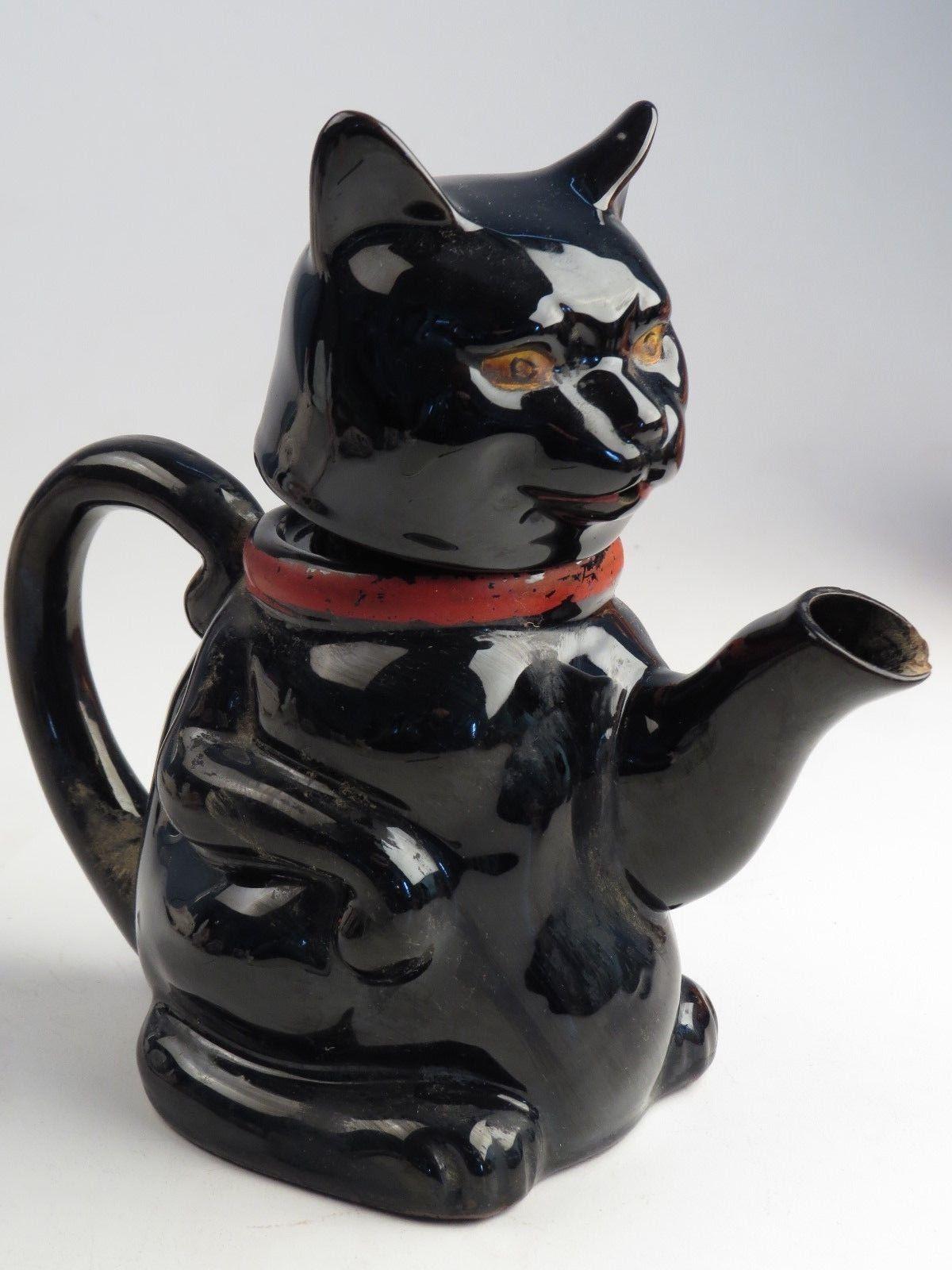 Vintage Black Cat Figurine Statue Porcelain Pottery Ceramic Tea