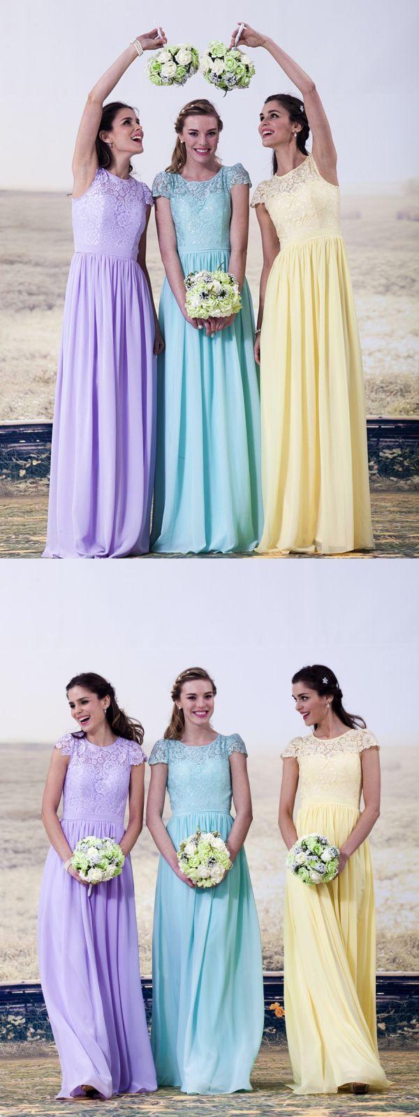 Aline scoop cap sleeves floorlength bridesmaid dress with lace