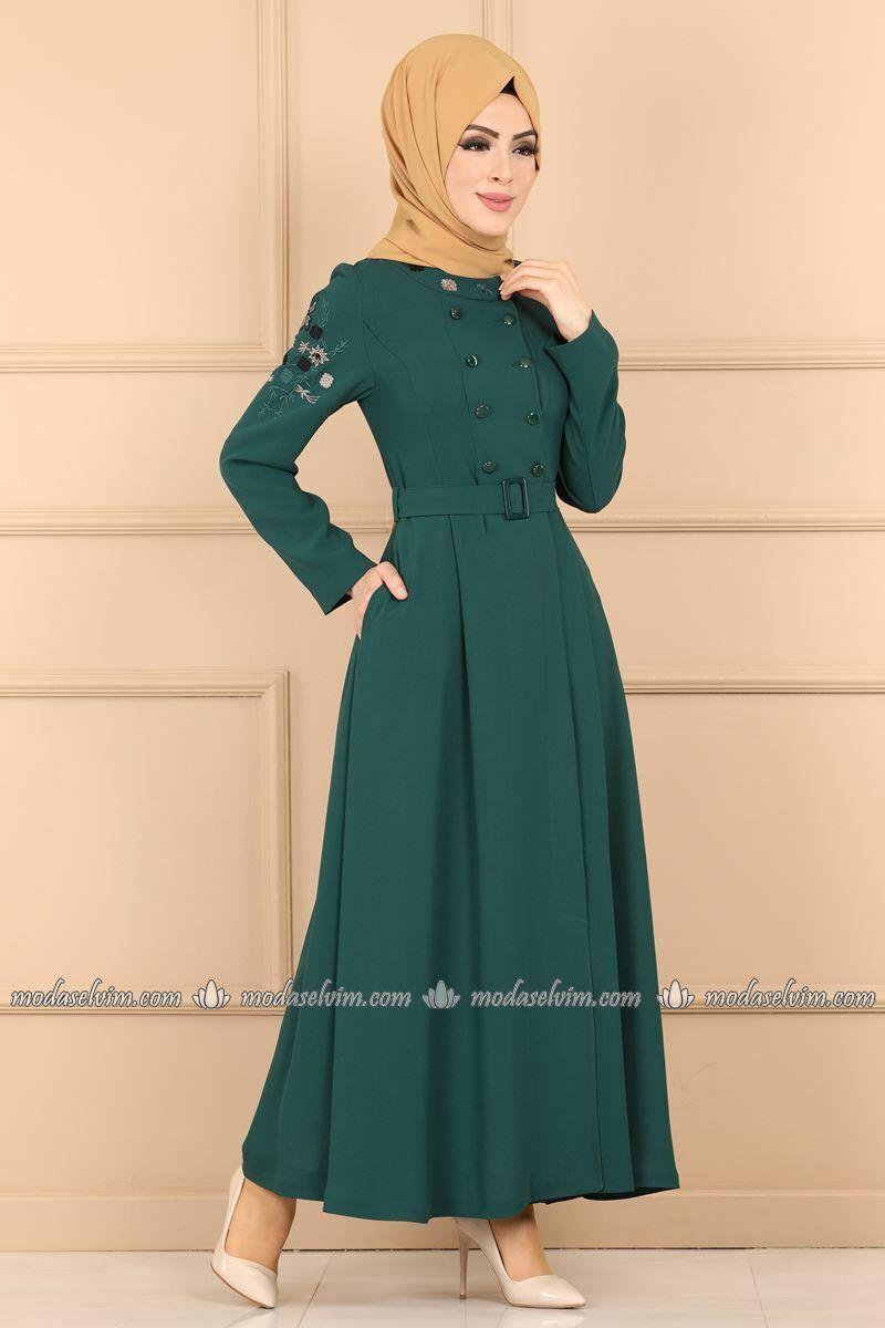 Moda Selvim Cicek Nakisli Pardesu Ferace Pd41313 Zumrut Fashion Dresses Muslim Fashion