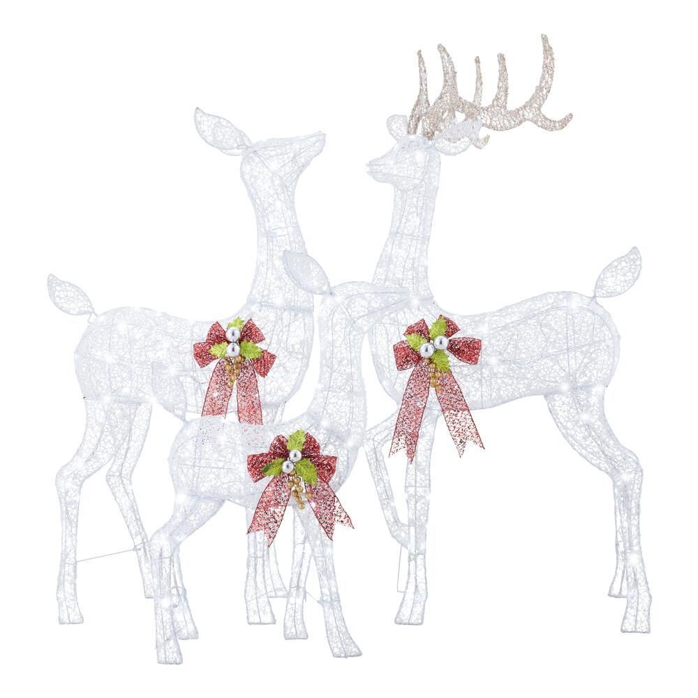 Home Accents Holiday 3 Piece Fantasleigh Outdoor Christmas Deer Family With Led Cool White Lights Ty594 2014 The Home Depot Outdoor Christmas Deer Outdoor Christmas Decorations Yard Outdoor Christmas