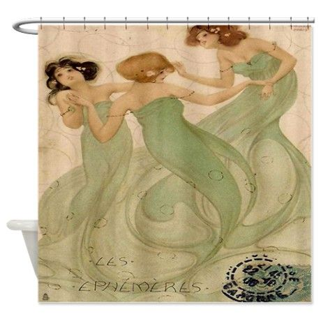 Vintage French Mermaid Shower Curtain On CafePress