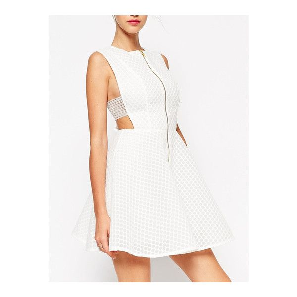 SheIn(sheinside) White Sleeveless Flare Zipper Dress (26 AUD) ❤ liked on Polyvore featuring dresses, white, cotton shift dress, summer dresses, short party dresses, shift dress and white dress