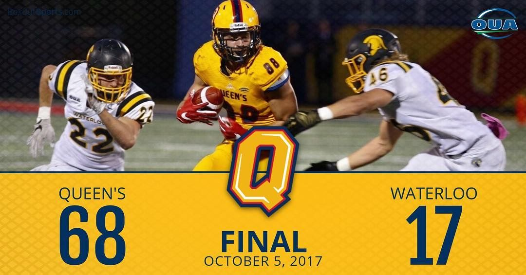 The Gaels Shone Bright Tonight Queen S Crushes Waterloo 68 17 In The First Ever Night Game At Richardson Stadium Queen Game Night Waterloo