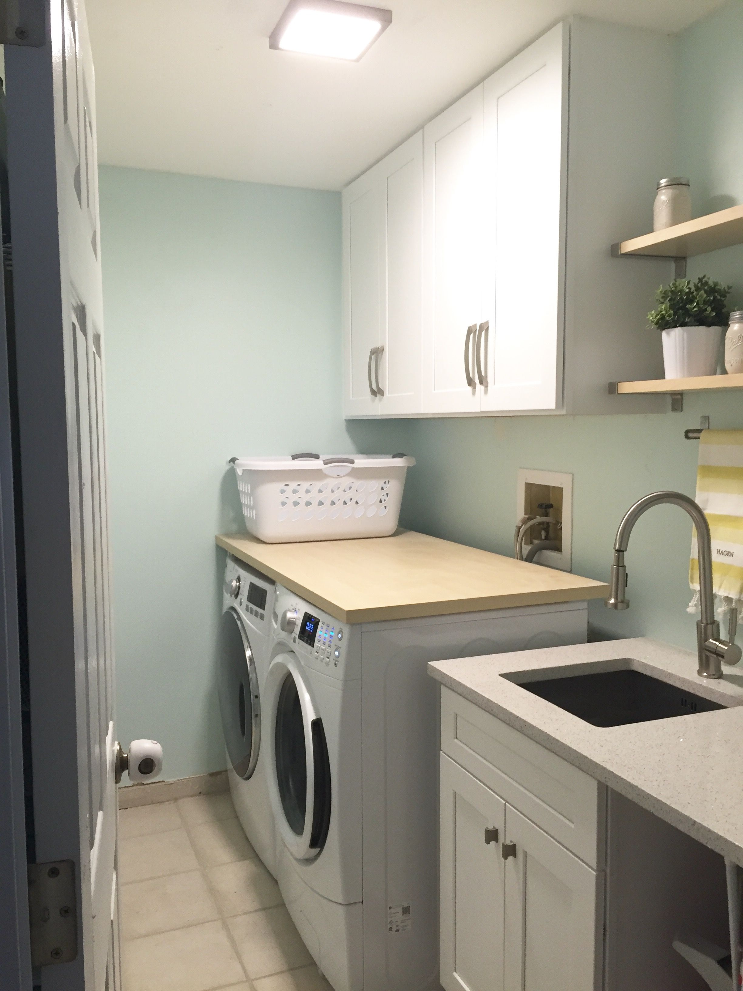 Laundry Room Makeover Before And After Open Shelves